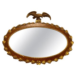 Federal Style 19th Century Oval Wall Console or Over the Mantle Mirror For Sale