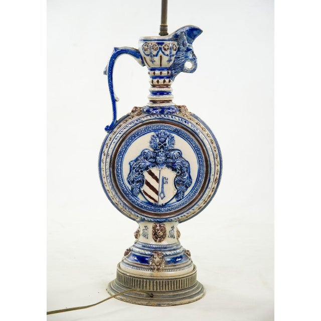 1920s Neoclassical Italian Porcelain Pitcher Double Light Table Lamp For Sale - Image 9 of 12
