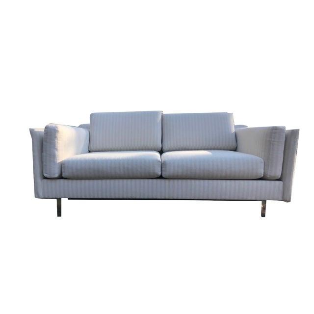Mid-Century Modern White Linen Sofas - a Pair - Image 2 of 7