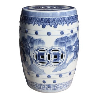 Vintage Chinese Blue and White Chinoiserie Style Garden Seat / Garden Stool / Side Table / Drinks Table For Sale