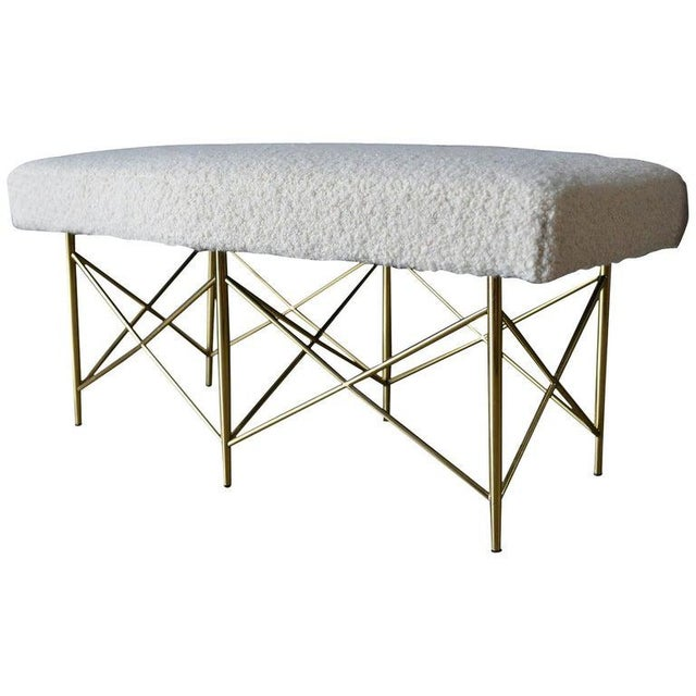 1970s Ivory Bouclé and Brass X-Base Ottoman Bench For Sale - Image 12 of 12