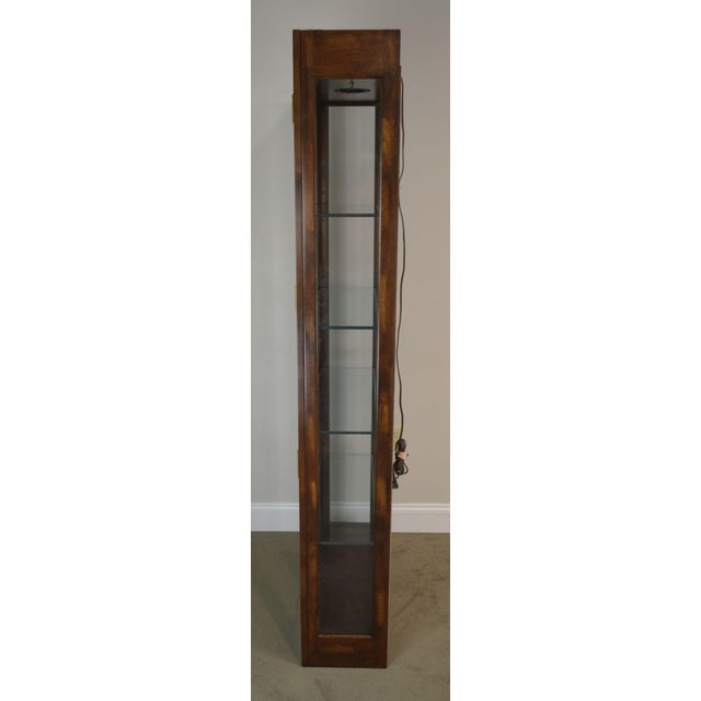 Campaign Style Vintage Narrow Tall Curio Display Cabinet