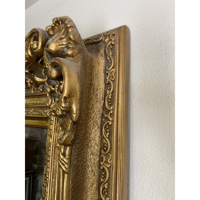 Gold Louis XIV Style Gold Leaf Beveled Glass Mirror For Sale - Image 8 of 11