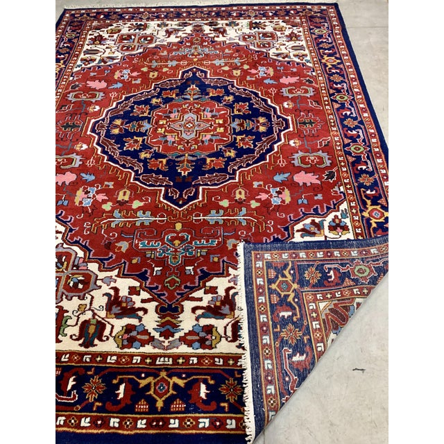 Mid 20th Century Large Vintage Bahtiari Handwoven Persian Fine Wool Rug For Sale - Image 5 of 6