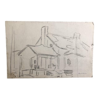 1930s Vintage Eliot Clark Plein Air Farm House Scene Impressionist Inspired Drawing For Sale