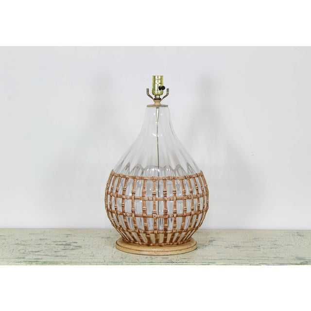 1970's Glass Table Lamp With Faux Bamboo Motif For Sale - Image 4 of 6
