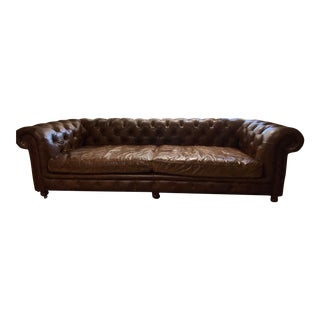 Vintage Kensington Tufted Leather Sofa For Sale