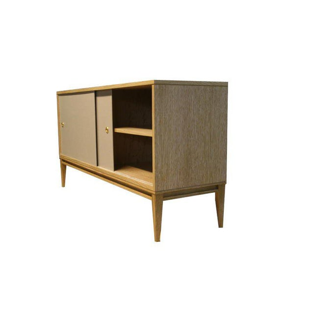 Customizable Bishop Lacquered Linen Door Console For Sale In New York - Image 6 of 10