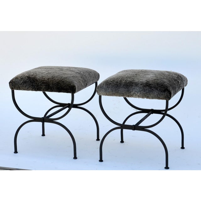 Modern Pair of 'Strapontin' Wrought Iron and Fur Stools For Sale - Image 3 of 9