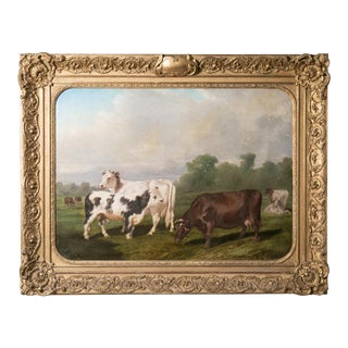"Early 19th Century Antique ""Vacherie D'Escoville"" French Framed Cow Painting For Sale"