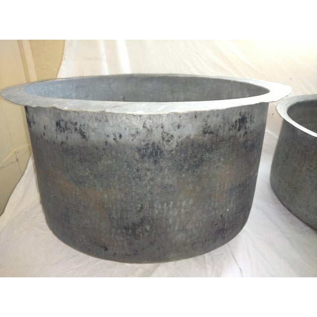 Antique Ceylonese Hammered Metal Copper Bottom Cauldrons - Set of 3 For Sale In Sacramento - Image 6 of 13