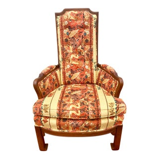 Mid-Century Modern Red Asian Chinoiserie Upholstered Arm Chair For Sale
