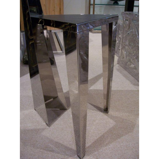 Italian 1970s Chic Stainless Steel Triangle Geometric Chair For Sale - Image 3 of 6
