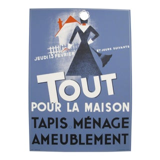1980s French Poster - Tout Pour La Maison. Tapis, Menage, Ameublement (Everything for the Home. Rugs, Cleaning, Furniture) For Sale