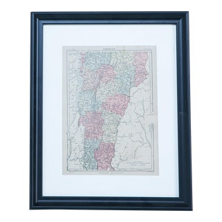Hand Colored Antique Map of Vermont For Sale