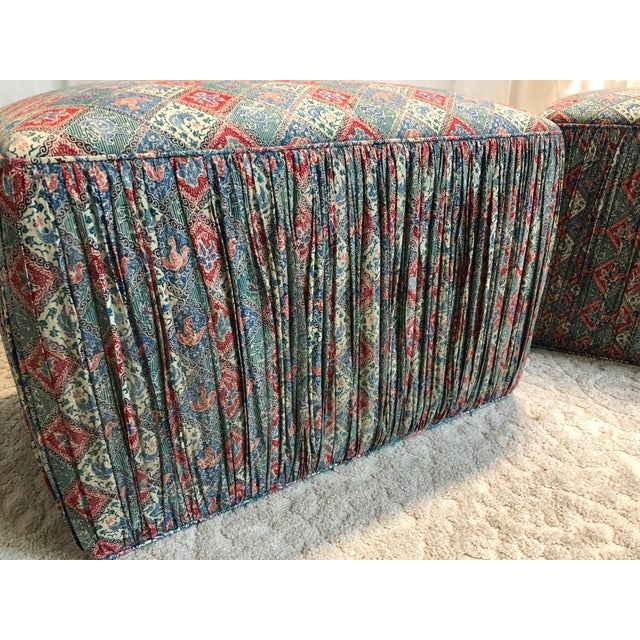 Late 20th Century Custom Upholstered Poof Ottomans - Pair For Sale - Image 5 of 7