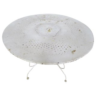 Vintage White Metal Garden Table For Sale