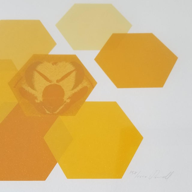 """1960s """"Bees and Hexagons"""" Minimalist Serigraph, Framed For Sale - Image 4 of 10"""
