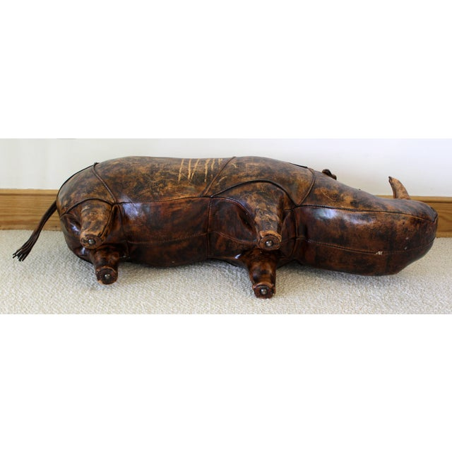 1960s Vintage Omersa for Abercrombie & Fitch Leather Rhino Footstool For Sale - Image 9 of 10