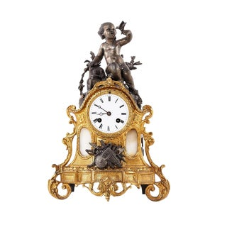 Rococo Bronze Mantel Clock, 1900's For Sale