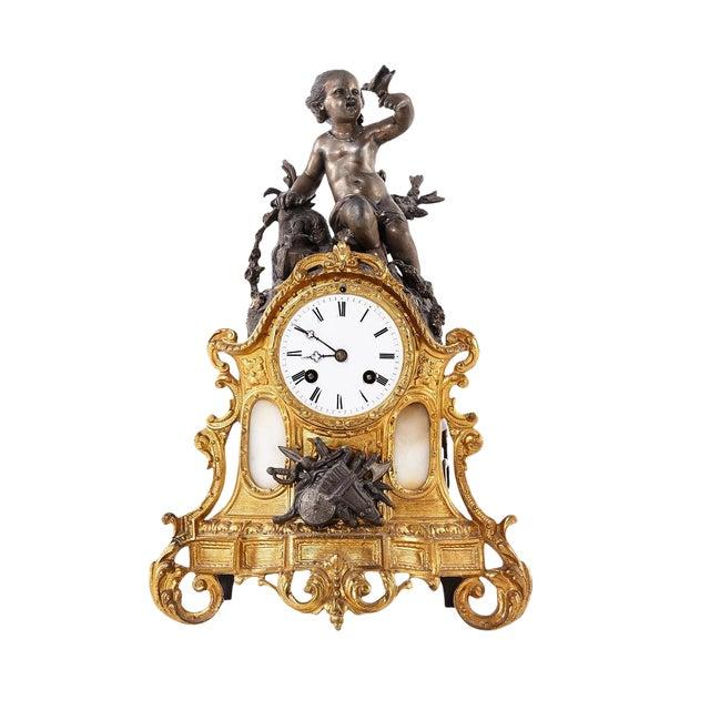 Rococo Bronze Mantel Clock, 1900's For Sale