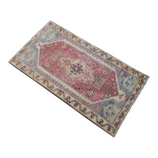 Hand Knotted Door Mat, Entryway Rug, Bath Mat, Kitchen Decor, Small Rug, Turkish Rug - 1′8″ × 3′2″ For Sale