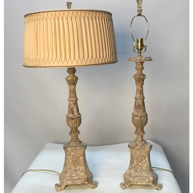 "Pair of fabulous vintage Aidan Gray "" Great Cathedral"" table lamps. Carved wood, intentionally distressed finish. Shades..."