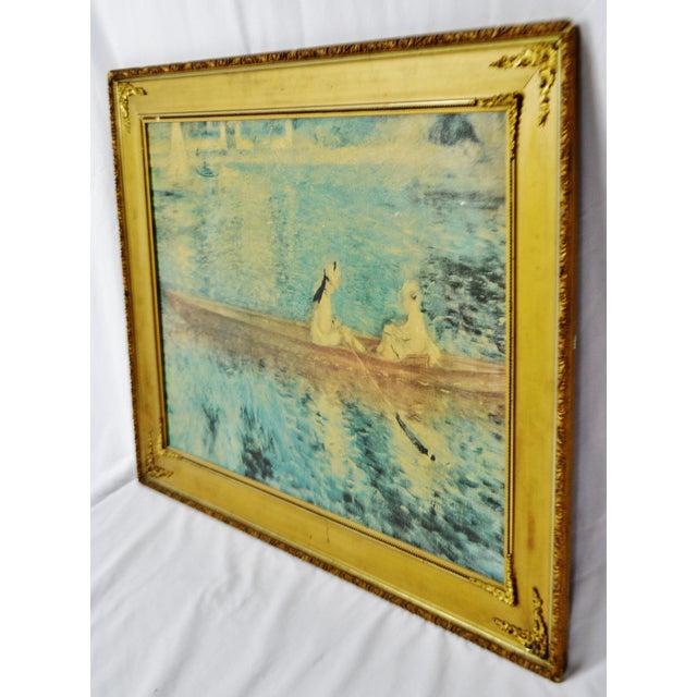 """Impressionism Vintage Gold Gilt Framed Renoir """"Boating on the Seine"""" Print on Board For Sale - Image 3 of 13"""