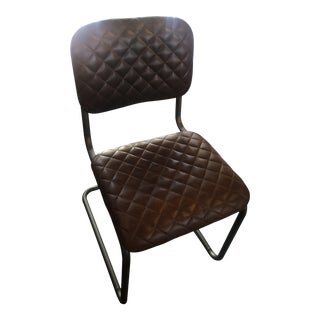 Vintage Brown Leather Dining Chair For Sale
