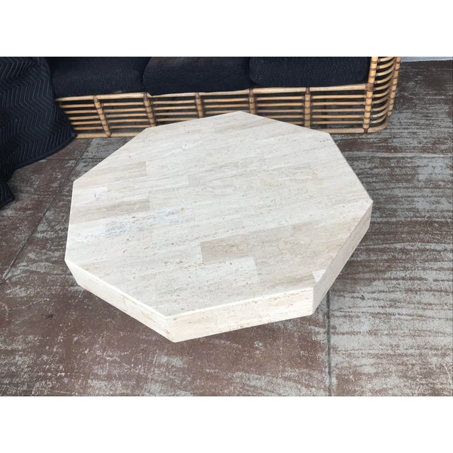 Octagonal Stacked Travertine Coffee Table For Sale In Dallas - Image 6 of 12