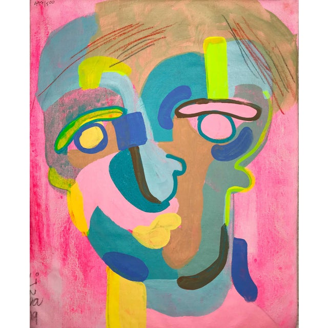 """Blue Contemporary Abstract Portrait Painting """"Let's Have Some Fun"""" - Framed For Sale - Image 8 of 8"""