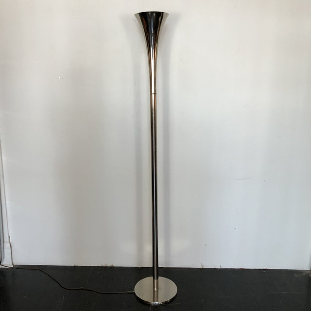 1960s MINIMALIST TORCHERE LAUREL FLOOR LAMP Tall, gracious, simple lines with narrow opening trumpet end that gives it a...