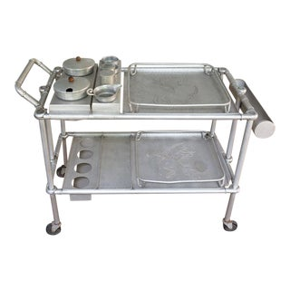 Bar Cart Mary and Russel Wright Aluminum Folding Tea Cart For Sale