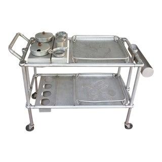 Patio Bar Cart Mary and Russel Wright Aluminum Folding Tea Cart For Sale