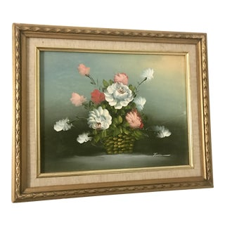 Vintage Still Life With Flowers Signed Oil Painting, 1930s