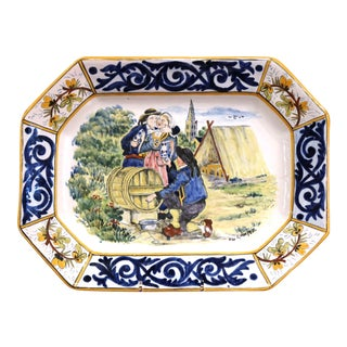 Large Early 20th Century French Hand-Painted Faience Hb Quimper Platter For Sale