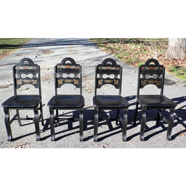 1940s Vintage Set of 4 Art Deco Black Painted Amish Folk Art Style Dining Chairs For Sale - Image 5 of 12