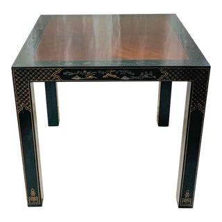 Vintage Drexel Heritage Et Cetera Chinoiserie Lacquer End Side Squared Table For Sale