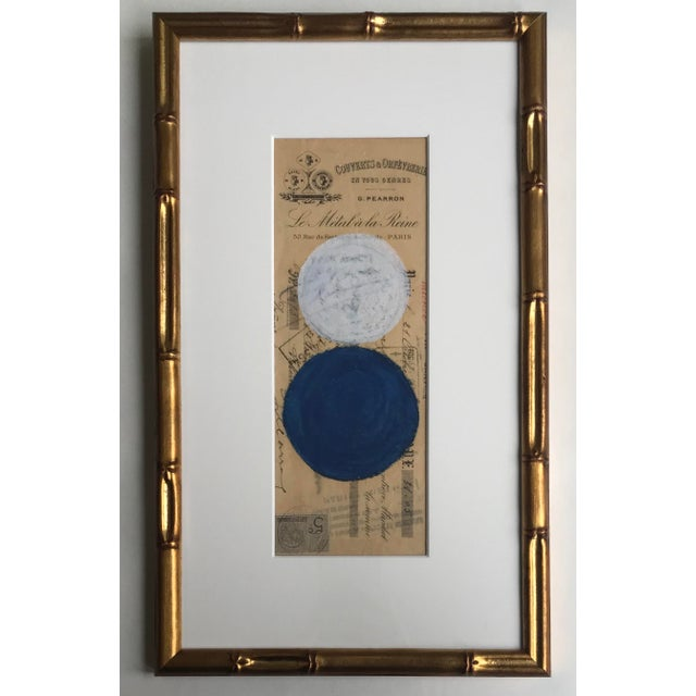Abstract Pastel on Vintage Paper, French Bank Note #3, Framed For Sale - Image 4 of 4