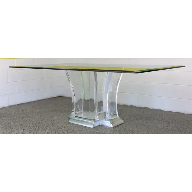 Jeffrey Bigelow Lucite and Nickel Dining Table 1980's - Image 6 of 7