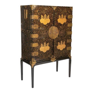 Japanese Black and Gold Lacquered Cabinet on Stand with Gilt Mounts For Sale
