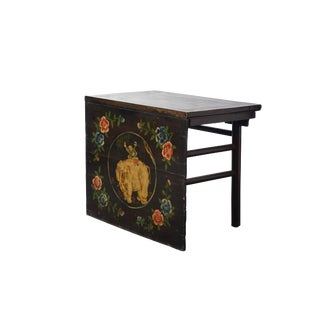 19th Century Chinoiserie Hand Painted Elephant Detailed Console Table For Sale