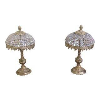 1920s French Beaded Czech Crystal Lamps - a Pair For Sale