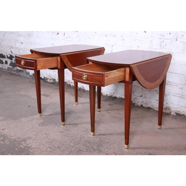 Late 20th Century Baker Furniture Georgian Style Banded Mahogany Pembroke Side Tables - a Pair For Sale - Image 5 of 13