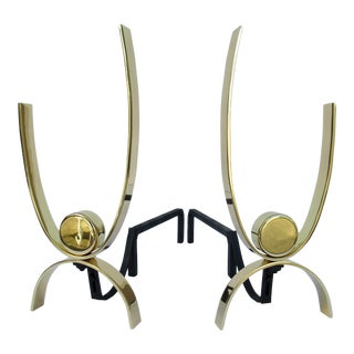 C.1950s- Mid-Century Original Donald Deskey Brass & Iron Andirons -A Pair For Sale