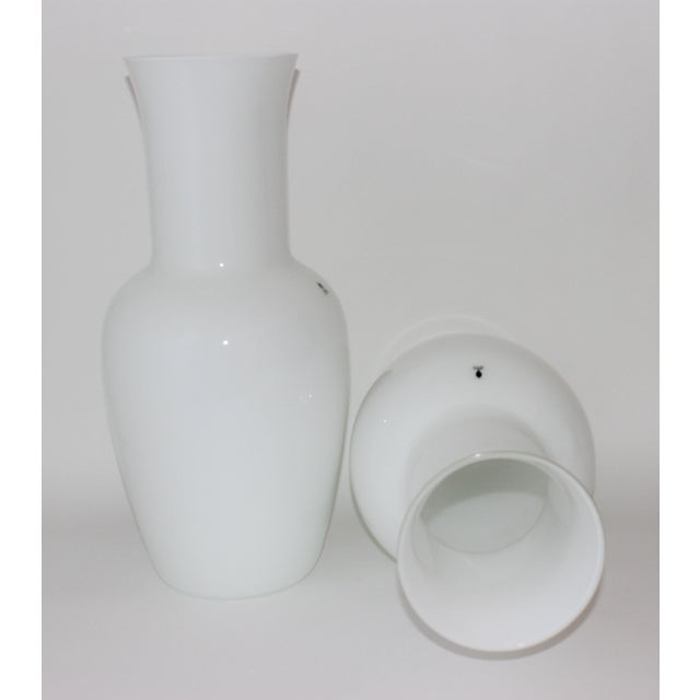 Murano Vintage Venini Murano White Glass Vases - a Pair - Part of a Collection For Sale - Image 4 of 10