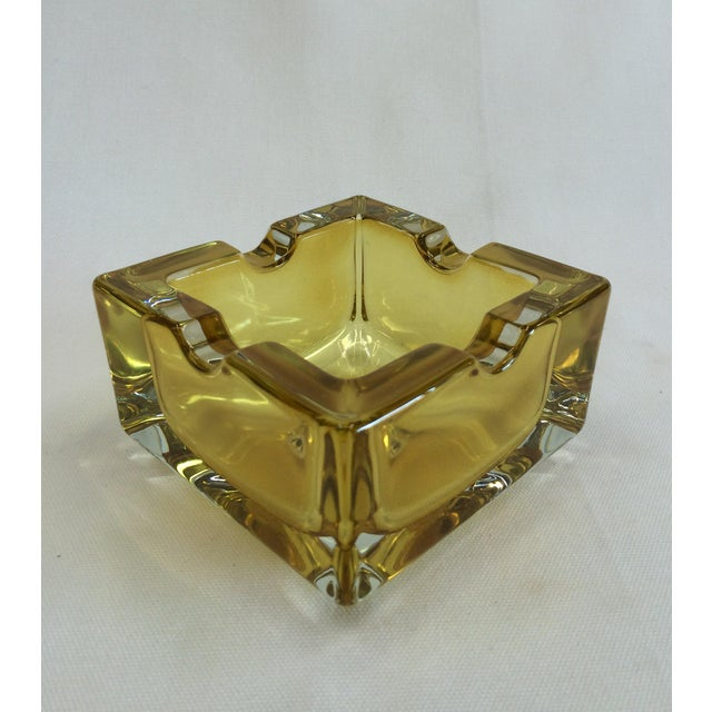 Vintage West German Yellow Art Glass Ashtray - Image 3 of 6