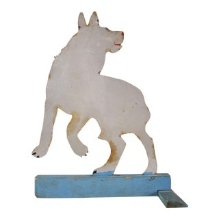 Antique Dog or Wolf Tin Cutout and Painted Folk Art Sculpture on a Wood Base For Sale