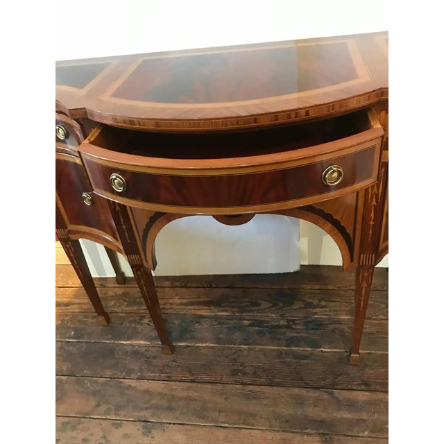 Tan Mixed Wood Small Inlaid Regency Style Console Sideboard For Sale - Image 8 of 10