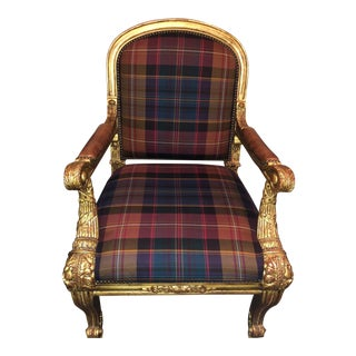 Ralph Lauren Carved Gold, Plaid & Leather Chair - Duke's Host Chair